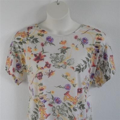 Tracie Shirt - Yellow/Purple/Cream Floral Rayon Knit | Knits