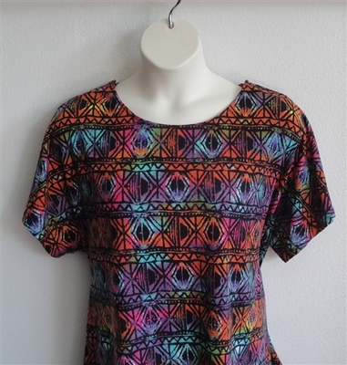 Tracie Shirt - Rainbow Aztec Rayon Knit (XS, M, L & 3X only) | Short Sleeve Shirts