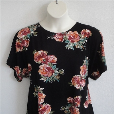 Tracie Shirt - Rust/Peach/Black Floral Rayon Knit | Knits