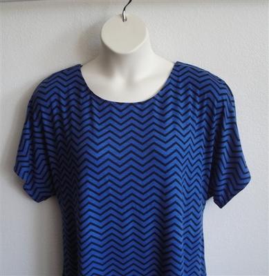 Tracie Shirt - Royal Blue/Black Chevron Rayon Knit | Short Sleeve Shirts