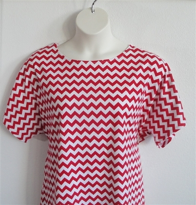 Tracie Shirt - Red/White Chevron Cotton Knit | Short Sleeve Shirts
