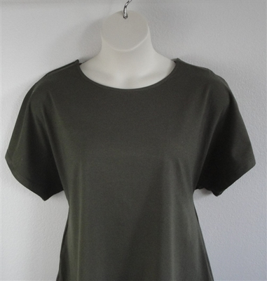 Tracie Shirt - Olive Green Cotton Knit (2x only) | Knits