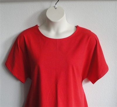 Red cotton adaptive clothing shirt for post surgery