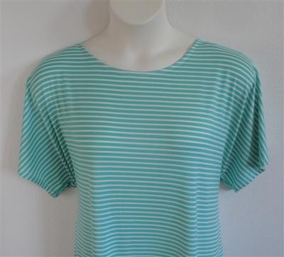 Tracie Shirt - Mint Green/White Stripe Rayon Knit | Knits