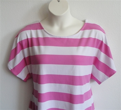 Tracie Shirt - Pink/White Stripe Cotton Knit | Knits
