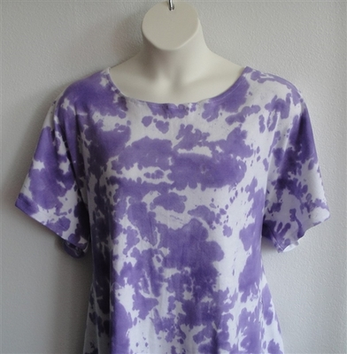 Tracie Shirt - Purple Tie Dye Cotton Knit | Short Sleeve Shirts