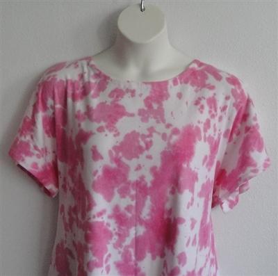 Tracie Shirt - Pink Tie Dye Cotton Knit | Short Sleeve Shirts