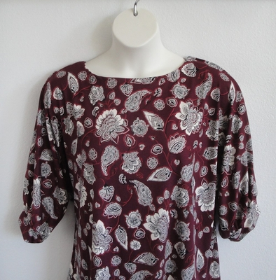 Libby Shirt - Burgundy Paisley Brushed Rayon Knit | 3/4 Sleeve Shirts