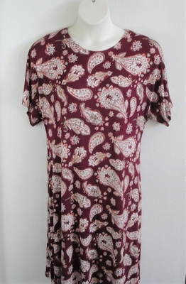 Plum Paisley Rayon Knit Post Surgery Gown - Orgetta