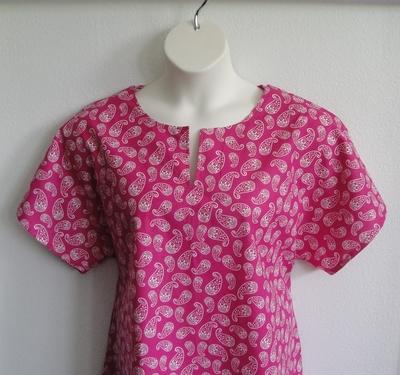 Bright Pink Paisley Post Surgery Shirt - Gracie