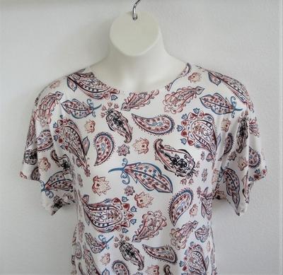 Tracie Shirt - Rust/Teal Paisley Rayon Knit | Short Sleeve Shirts