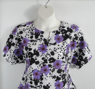 Gracie Shirt - Purple/Black Floral Polyester | Woven Fabrics