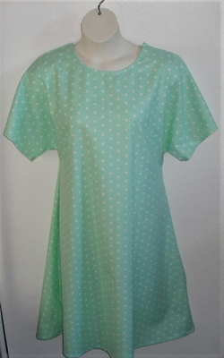 Mint Dot Flannel Post Surgery Gown - Orgetta