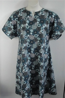 Teal/Gray Medallion Post Surgery Nightgown - Erin
