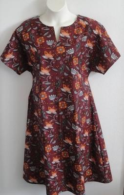 Burgundy Bird Floral Post Surgery Nightgown - Erin