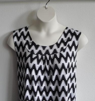 Sara Shirt - Black/White Aztec Chevron Rayon Blend Knit   Cotton / Rayon