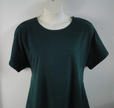 Olive green cotton special needs shirt that opens at the shoulders