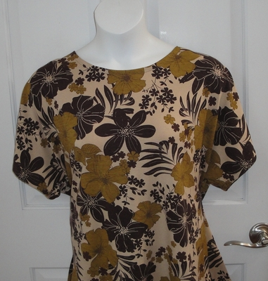 CLEARANCE --Tracie Shirt - Brown Floral Cotton (SMALL ONLY) | Short Sleeve Shirts