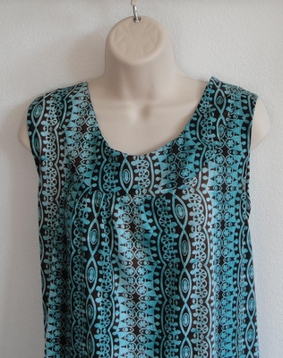 CLEARANCE --Sara Shirt - Teal/Brown Geometric (SMALL ONLY) | Short Sleeve Shirts