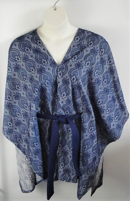 Shandra Cape - Navy Brocade Rayon Blend | Outerwear/Capes