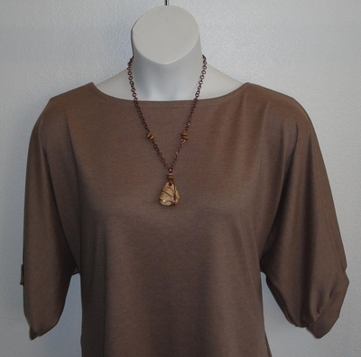 SECOND --Libby Shirt - Tan Ponte Knit (Small ONLY)  -- 28 | Short Sleeve Shirts