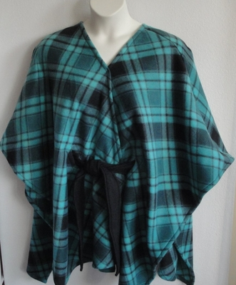 Shandra FLEECE Cape - Teal/Black Plaid | Outerwear/Capes