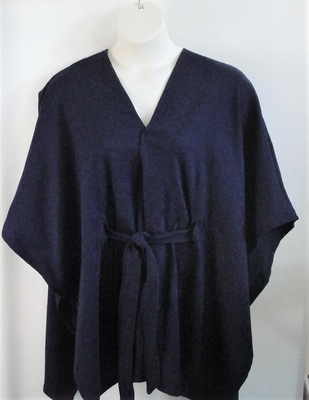 Shandra Cape - Navy Blue Triangles - Rayon Blend (Petite Only) | Outerwear/Capes