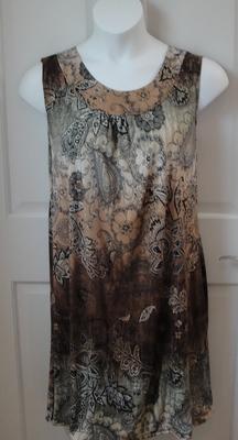 CLEARANCE -- Size S --Heidi Nightgown - Black/Tan Batik Jersey | Sleeveless Gowns