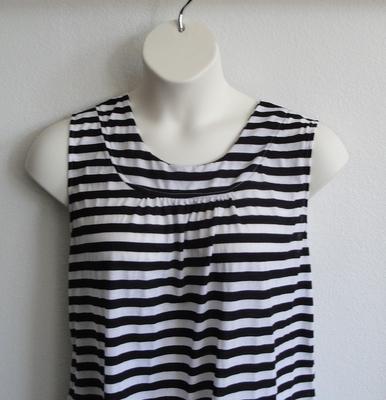 Sara Shirt - Black/White Stripe Cotton Knit | Cotton / Rayon