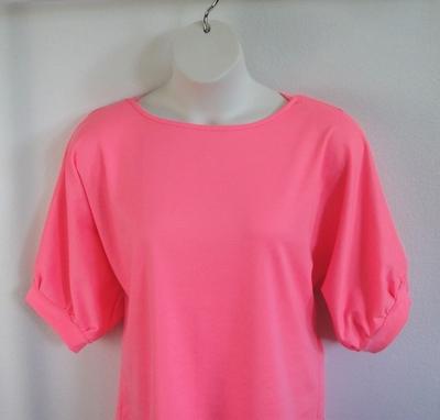 Libby Shirt - Neon Pink Rayon Ponte   3/4 Sleeve Shirts