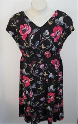 Randi Dress - Black/Pink/Tan Floral Jersey Knit | Dresses