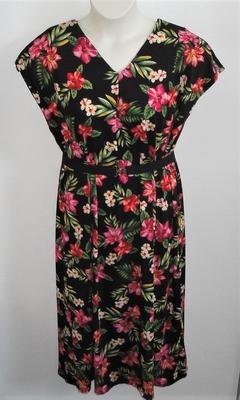 Randi Dress - Black/Pink/Red Tropical Floral Jersey Knit | Dresses