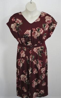 Randi Dress - Burgundy/Mauve Floral Brushed Poly Knit | Dresses