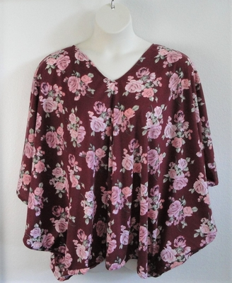 Burgundy Pink Rose Post Surgery Side Opening Shirt - Kiley