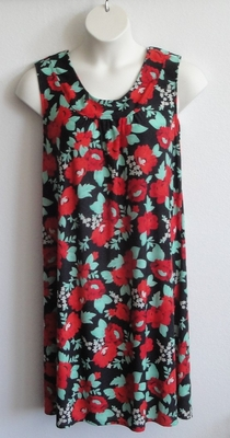 Blue/Pink Floral Poly Jersey Post Surgery Gown - Heidi