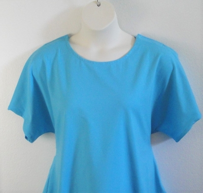 Aqua cotton knit shirt for rotator cuff surgery, shoulder replacement or breast cancer
