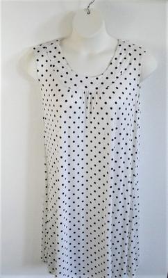 Heidi Nightgown - Black/White Dot Rayon Knit   Sleeveless Gowns