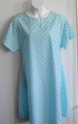 Erin Nightgown - Aqua Fleur | Woven Fabric Gowns