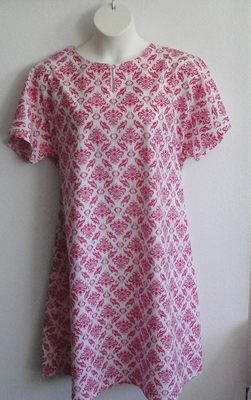 Pink/White Geometric Post Surgery Nightgown - Erin