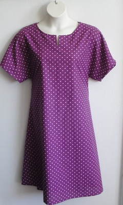 Erin Nightgown - Purple Dot   Woven Fabric Gowns