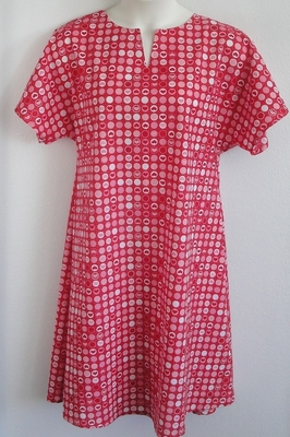 Erin Nightgown - Red Heart Circles | Woven Fabric Gowns