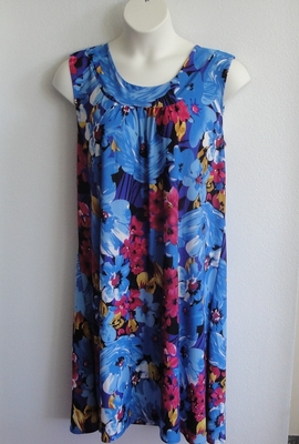 Heidi Nightgown - Large Blue/Pink Floral Jersey (S & M only) | Sleeveless Gowns
