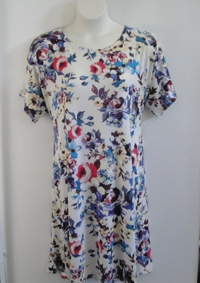 Red/White/Blue Floral Rayon Knit Post Surgery Gown - Orgetta