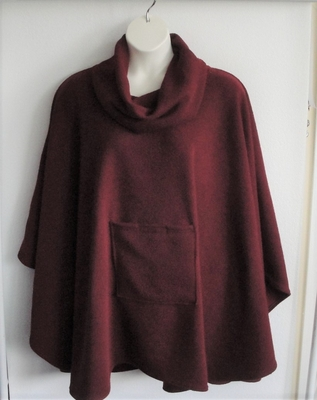 Riley Cape/Poncho -Burgundy - Chenille Fleece Sweater | Outerwear