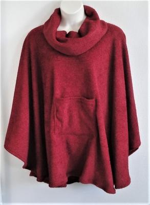 Riley Cape/Poncho -Dark Red - Chenille Fleece Sweater   Outerwear/Capes