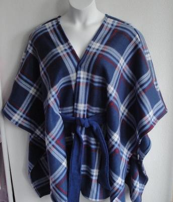 Shandra FLEECE Cape - Blue/Red Plaid | Outerwear