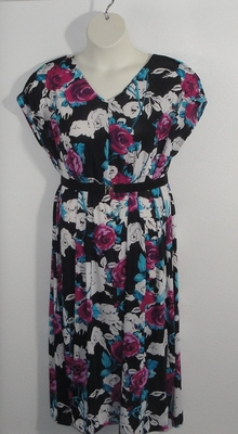 Randi Dress - Pink/Black Floral Jersey Knit | Dresses