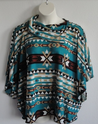 Emily Side Opening Sweater - Jade Aztec | Sweaters