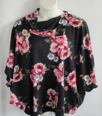 Katie Side Opening Shirt - Pink Floral on Black Heather | Side Opening Shirts