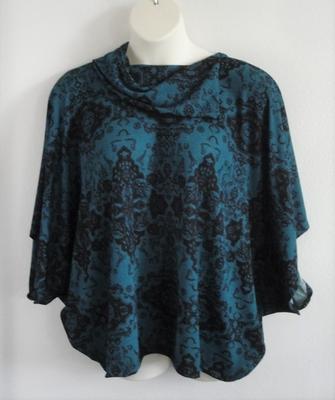 Dark Teal Geo Side Opening Sweater - Emily